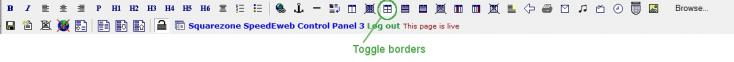 Toggle borders icon on the tool bar