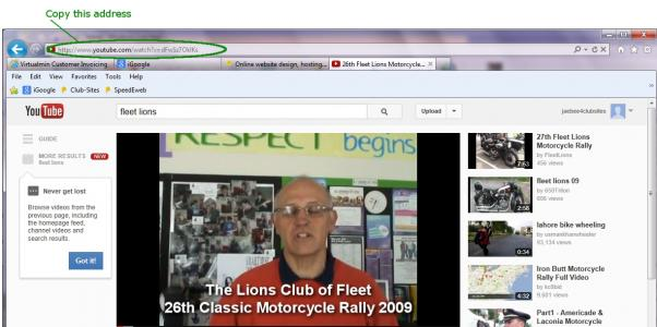 Copy the address bar when watching your video