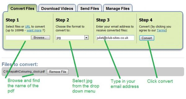 uploading your pdf, choosing  to convert it to a jpg and giving them an email address to send the file instruction